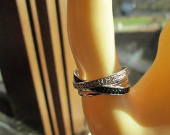 Designer .55ctw Black & White H-SI Genuine Diamond Sterling Silver Ring Size 6.75, Wt. 5 Grams