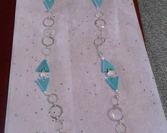 Fun w turquoise & silver large link chain