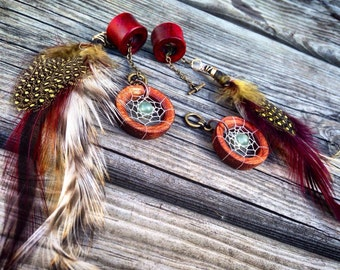 """Magnetic Bloodwood Tunnels with Dream-Catcher Dangle Chains/Sizes00g(10mm)&7/16""""(11mm)Wood/Gauges/Eyelet/Flesh Tunnels/Hippie/Tribal/Wedding"""