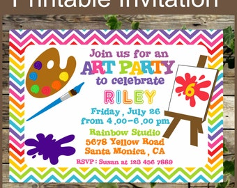 Printable Art Party Invitation, Birthday Invitation, Printable Colorful Rainbow Kids Art Birthday Party Invite