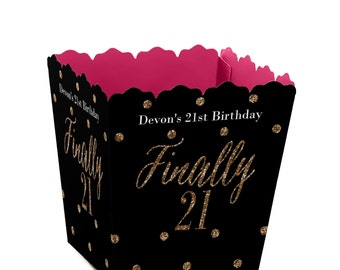 Finally 21 Girl - 21st Birthday - Custom Small Candy Boxes - Personalized Birthday Party Supplies - Set of 12