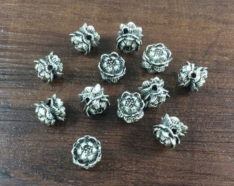 15pcs 10mm Antique silver Lotus Flower beads,Lotus beads