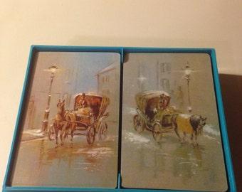 Vintage Double Decks Hallmark Gaslight Playing Cards (1 Deck Sealed & 1 Opened)