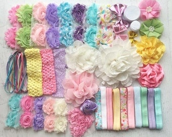 "Baby Shower Headband Kit ""Springtime Pastels"", Baby Shower Headband Station, DIY Headband kit, Baby Girl Headbands, Baby Headband Kit"
