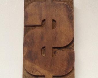 Vintage Letterpress, Wooden Printer Block, Dollar Sign Letterpress, Wood Block Letterpress, Printers Block, Graphic Design Stamp