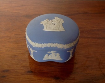 Vintage Wedgwood Trinket Box.  Blue Jasper Ware Kidney Shaped Pot. 1970's.