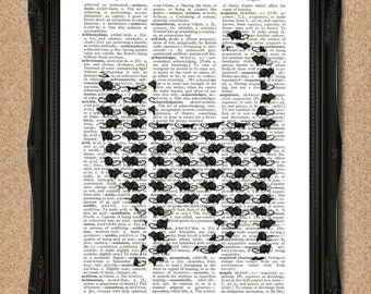 Cat and Mouse Dictionary Print for Cat Lovers Wall Art A087D