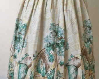 Cottage Novelty Border Print Skirt