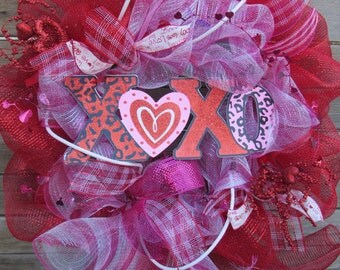 "24"" XOXO Deco Mesh Wreath Valentine's Day Wreath Valentine Door Decor Heart Wreath XOXO Door Decor Heart Deco mesh Wreath Love Wreath"