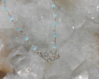 Natural stone Blue Chalcedony Lotus necklace, sterling silver