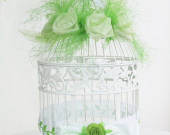 Bird cage large urn of white and green chic countryside nature marriage