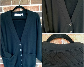 Black Sweatshirt Cardigan with Quilted Details