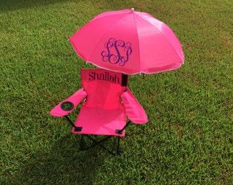 Monogrammed Beach Chair and Umbrella for Toddlers and Children