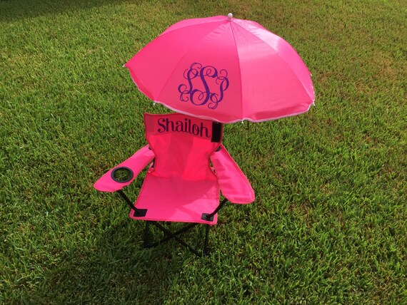 monogrammed beach chair and umbrella for toddlers and children. Black Bedroom Furniture Sets. Home Design Ideas