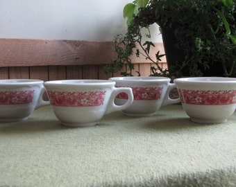 Strawberry Hill Coffee Cups Syracuse China Restaurant Ware Discontinued Set of Four (4) Cups 1960s