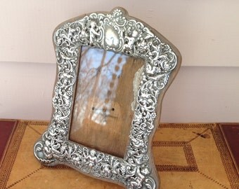 Sterling Silver Photograph Frame - Pierced with Cherub and Vine Decoration
