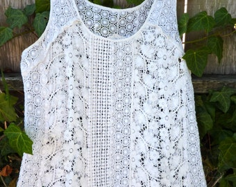Summery long white lacey cotton dress, alternative bridal, gypsy boho