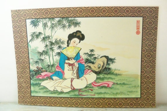 Oriental Placemat Vintage Vinyl Place Mat Japanese Chinese Geisha Girl With a Paper Fan Oriental Boats at a Marina Outside the Market 1970s