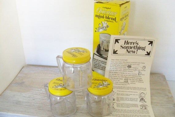 Vintage Osterizer Mini Blend Containers Set of 3 Plastic with Yellow Metal Lids in Original Box Instructions  Like New 1962