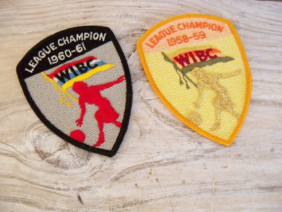 Vintage Women's Bowling League Championship Shirt Sew On Patches 1958-1961