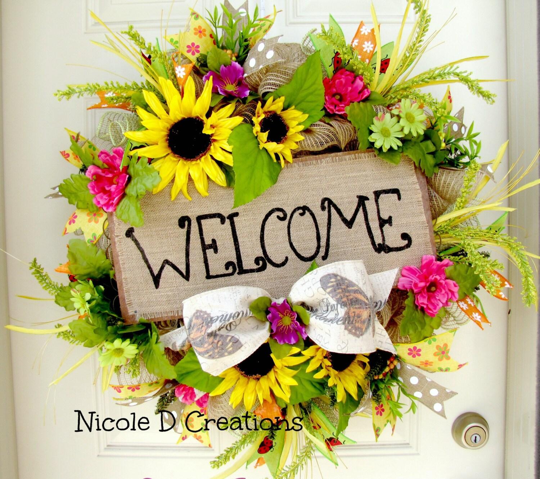 Bright Color Home Decor Summer Wreath Front Door Wreaths Deco Mesh Wreath Welcome