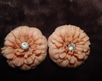 Vintage Western Germany Plastic Flower Earrings Clear Rhinestone Clip On Plastic Earrings Made In Western Germany