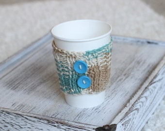 Knitted coffee Cozy, Knitted Gift, Coffee cup Cozy