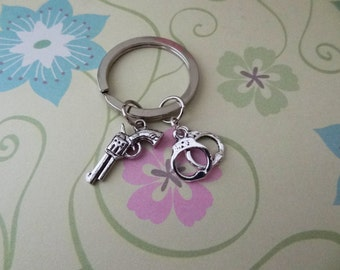Silver Gun and Handcuffs Keychain - Ready to Ship