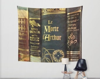 Adventure Library Wall Tapestry: home decor, wall art, books, book, library, King Arthur, Arthurian legend, blue, brown