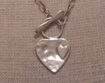 Delicate Looking Sterling Silver Heart Necklace Made in Israel!