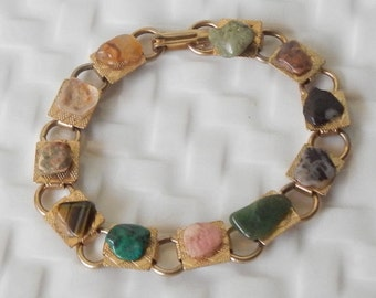 Cute Vintage Bracelet With Polished Stones!