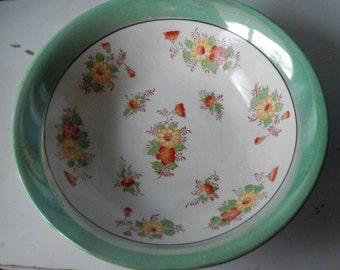 Cottage Chic Hand Painted Large Lusterware Bowl!