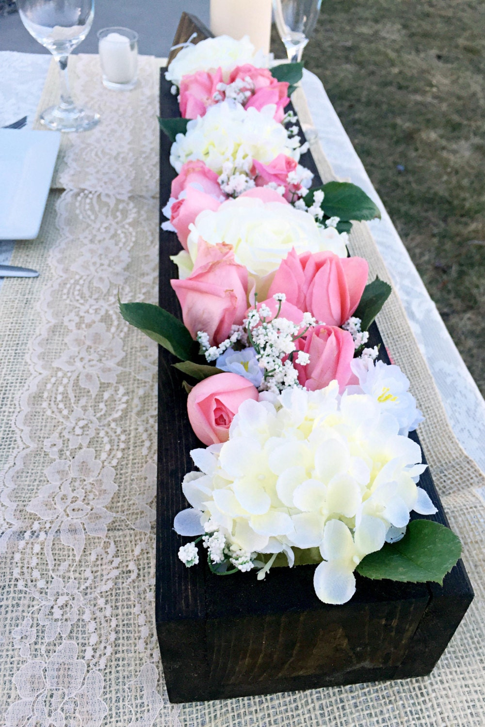 Rustic flower box wedding table centerpiece by