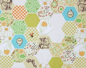 Hexagon Winnie The Pooh Pattern Cotton Fabric by Yard - Green Color