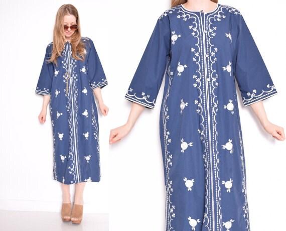 Vintage s dress navy blue embroidered hippie hippy boho