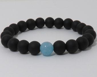 Matte Black Onyx Bracelet, Aquamarine Bracelet, Black Stone Bracelet, Black Bracelet, Determination, Courage, Mens Bracelet, Womens Bracelet