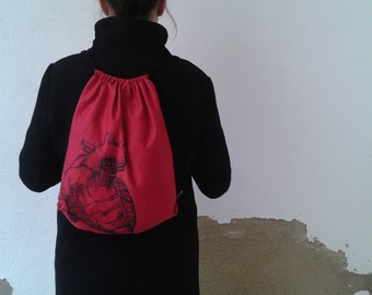 Anatomical Heart Backpack, drawstring backpack, rucksack, sack bag, red heart bag, light backpack, gift under 20, travel bag, handmade