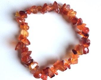 Carnelian gemstone orange chip bracelet