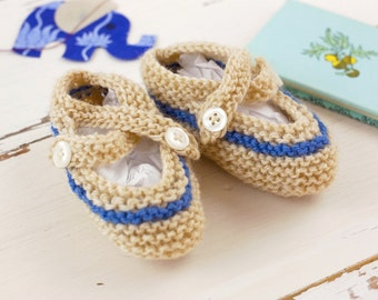 cutest baby booties // hand-knit //tan with blue stripe