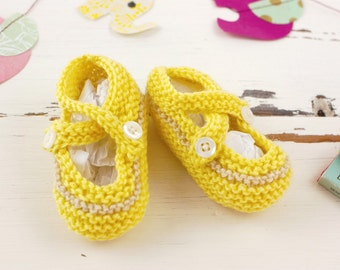 cutest baby booties // hand-knit // yellow with gray stripe