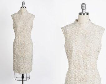 Vintage 1960s dress // 60s beaded lace wiggle dress // wedding dress