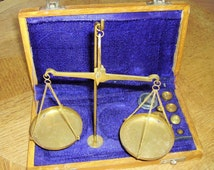 Antique French Brass Jeweler's /Apothecary Scales.  Justice Scales Balance