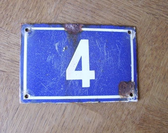 Vintage French House Number 4 Enamel Sign Plaque