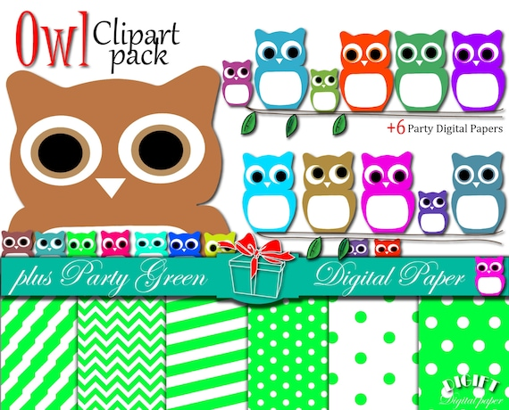"Owl Clip art: ""CUTE OWLS"" owl clipart, owl print , owl mask, owl svg, pink, blue, sweet color owl, owl decor digital paper, owl baby shower"