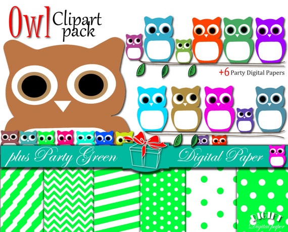 "Owl Clip art: ""CUTE OWLS"" owl clipart, owl print , owl mask, owl svg, pink, blue, sweet color owl, halloween digital paper, owl baby shower"