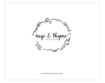 "Pre Made Logo Design - Wreath Logo - Photography Logo - Boutique Logo - Small Business Logo - ""Sage & Thyme"""