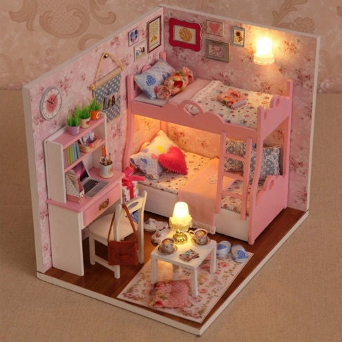 Wooden Dollhouse Miniatures 1 12 Furniture Kit Set Doll