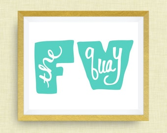 """Fuquay Varina Art Print - """"the quay"""" -  hand drawn, hand lettered, Option of Real Gold Foil"""