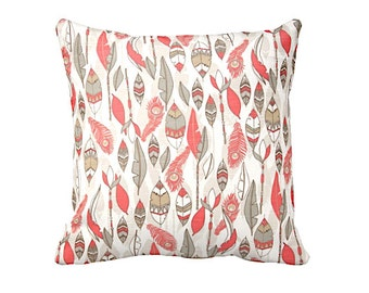 6 Sizes Available: Coral Blue Decorative Throw Pillow Cover Coral Pillow Accent Pillow 12x16 18x18 20x20 22x22 24x24 Inches