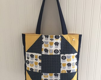 Patchwork Tote Bag.  Blue and Yellow. 100% cotton.